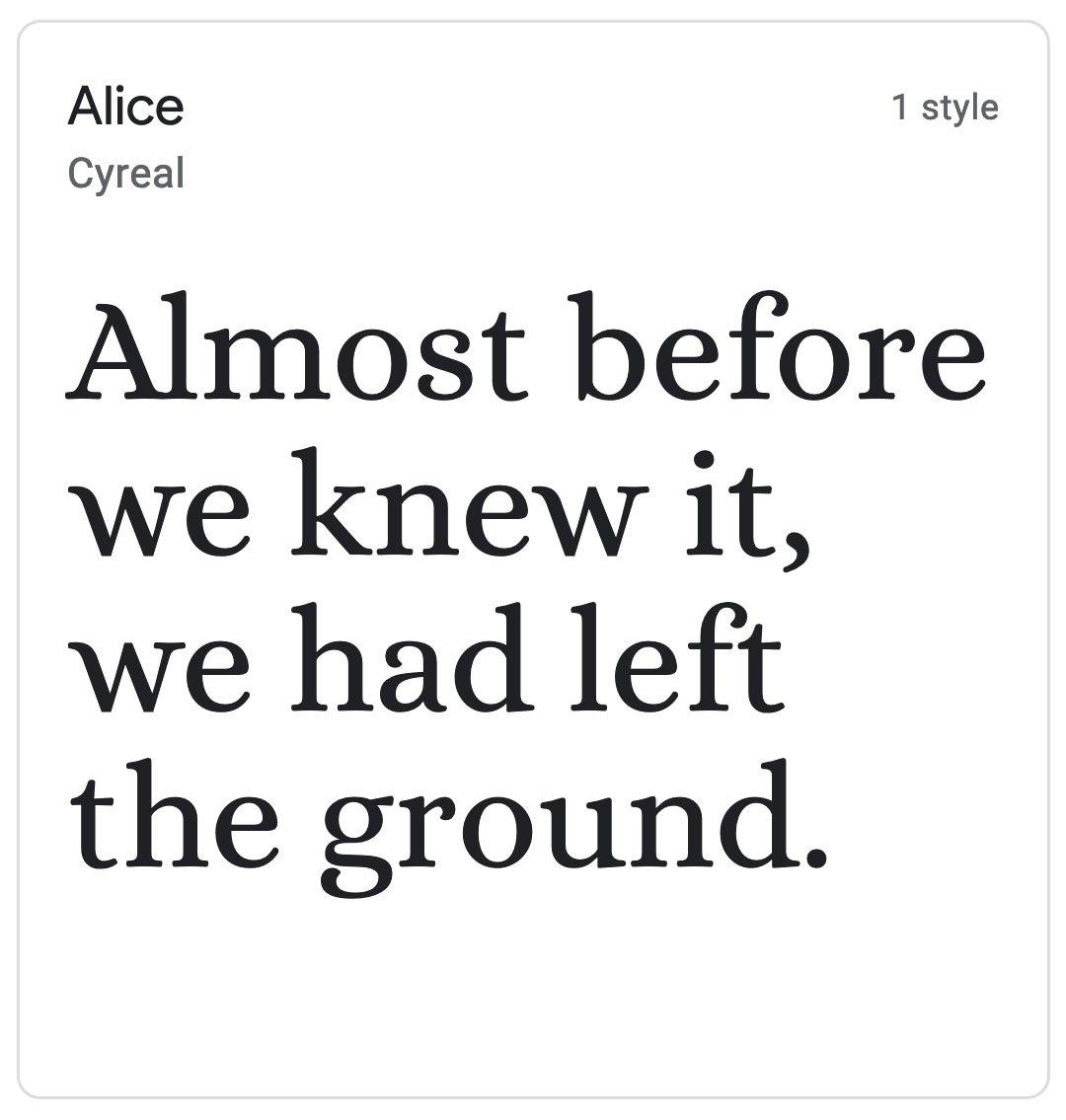 Enfold Fonts Alice
