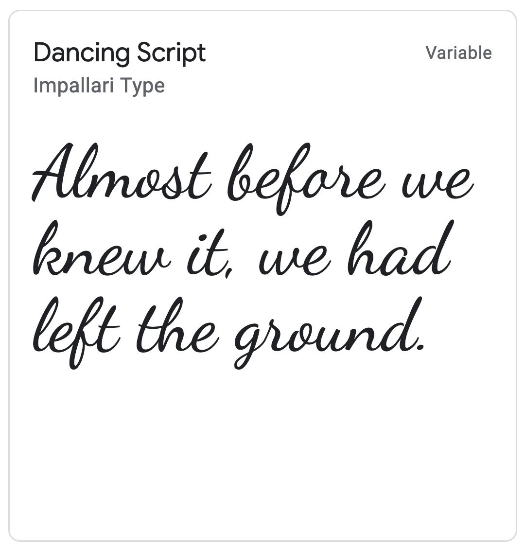 Enfold Fonts Dancing Script