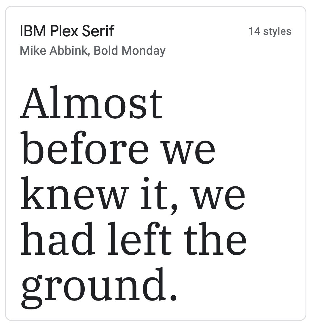 Enfold Fonts IBM Plex Serif