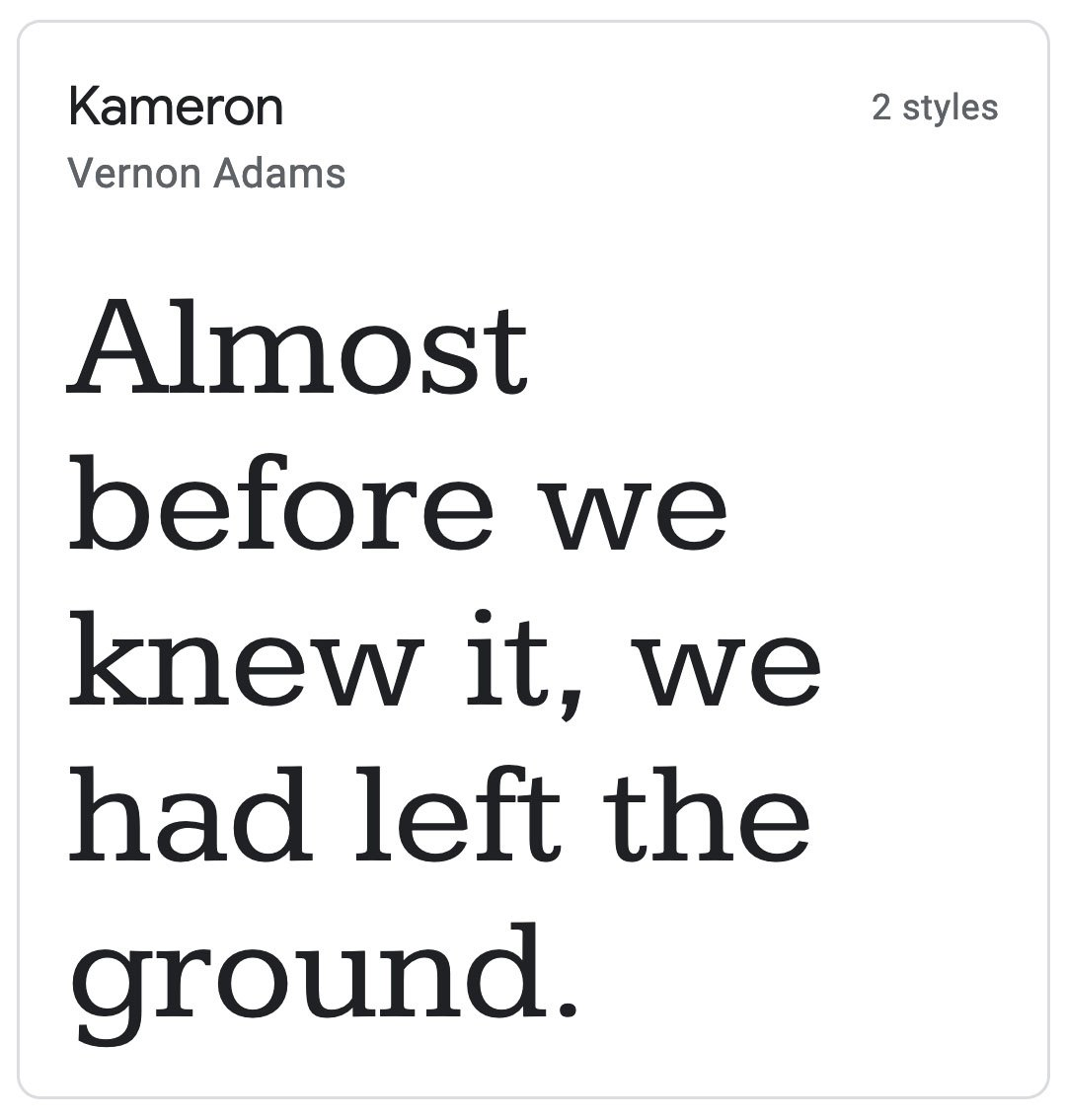 Enfold Fonts Kameron