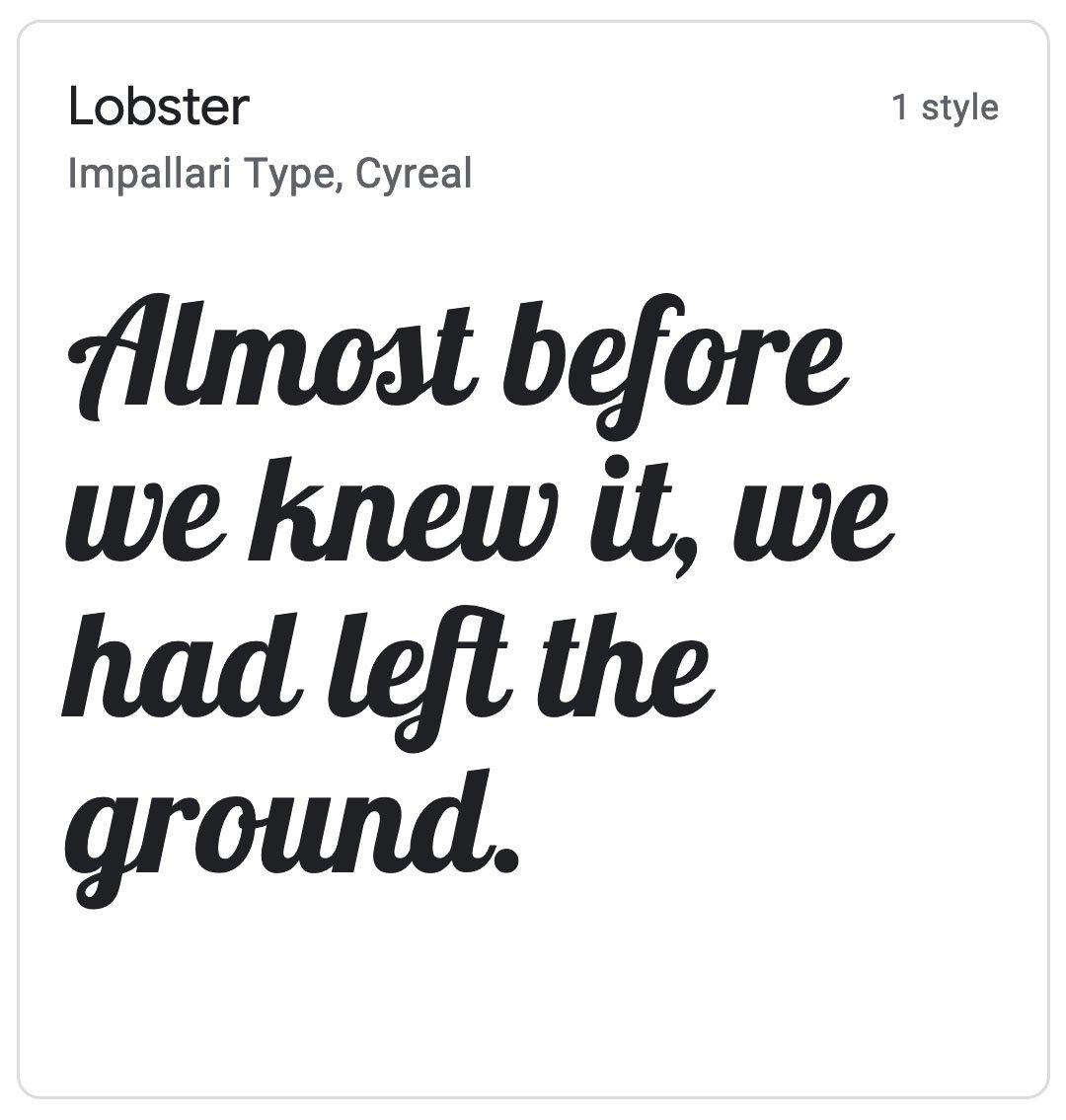 Enfold Fonts Lobster