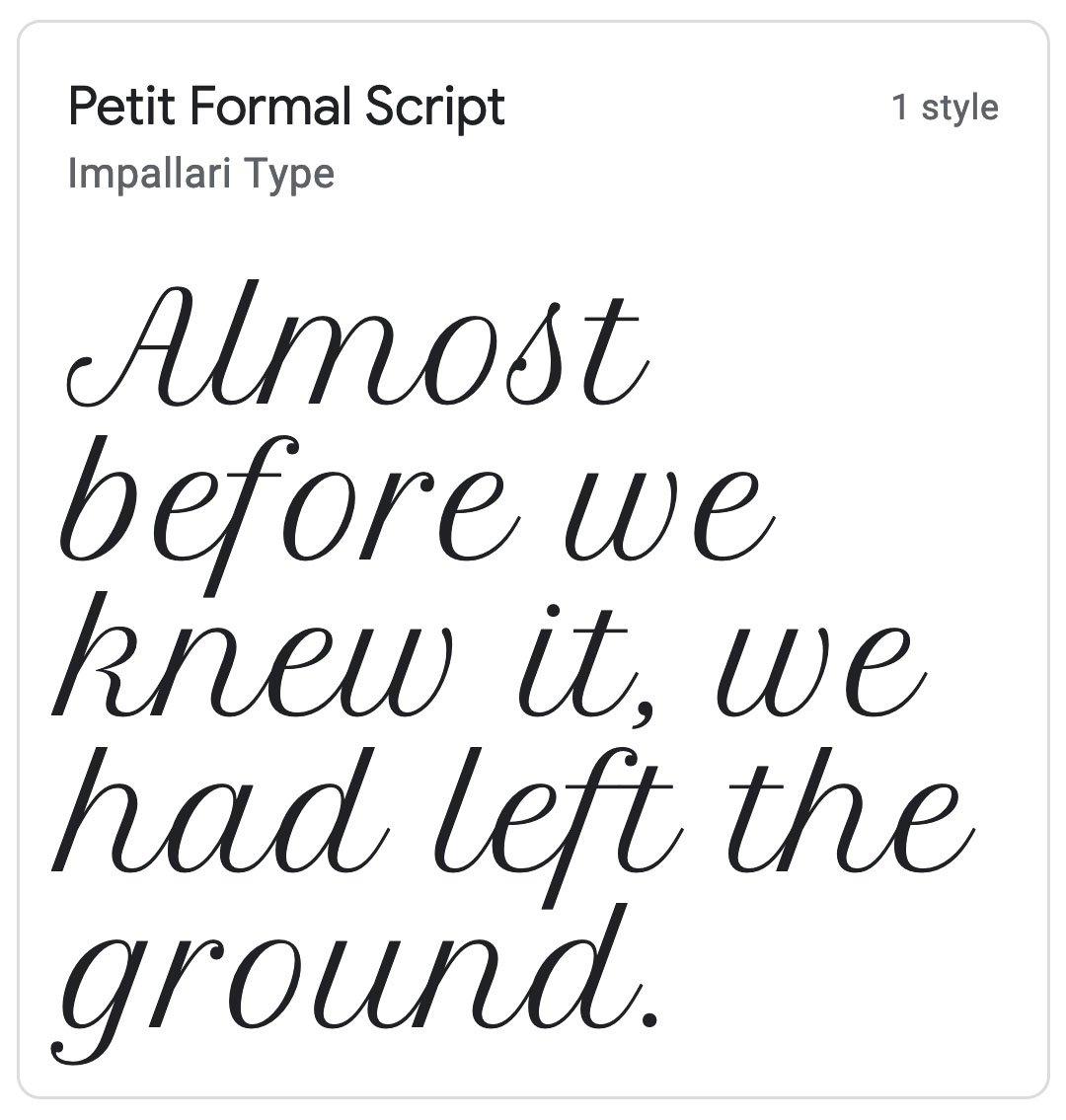 Enfold Fonts Petit Formal Script