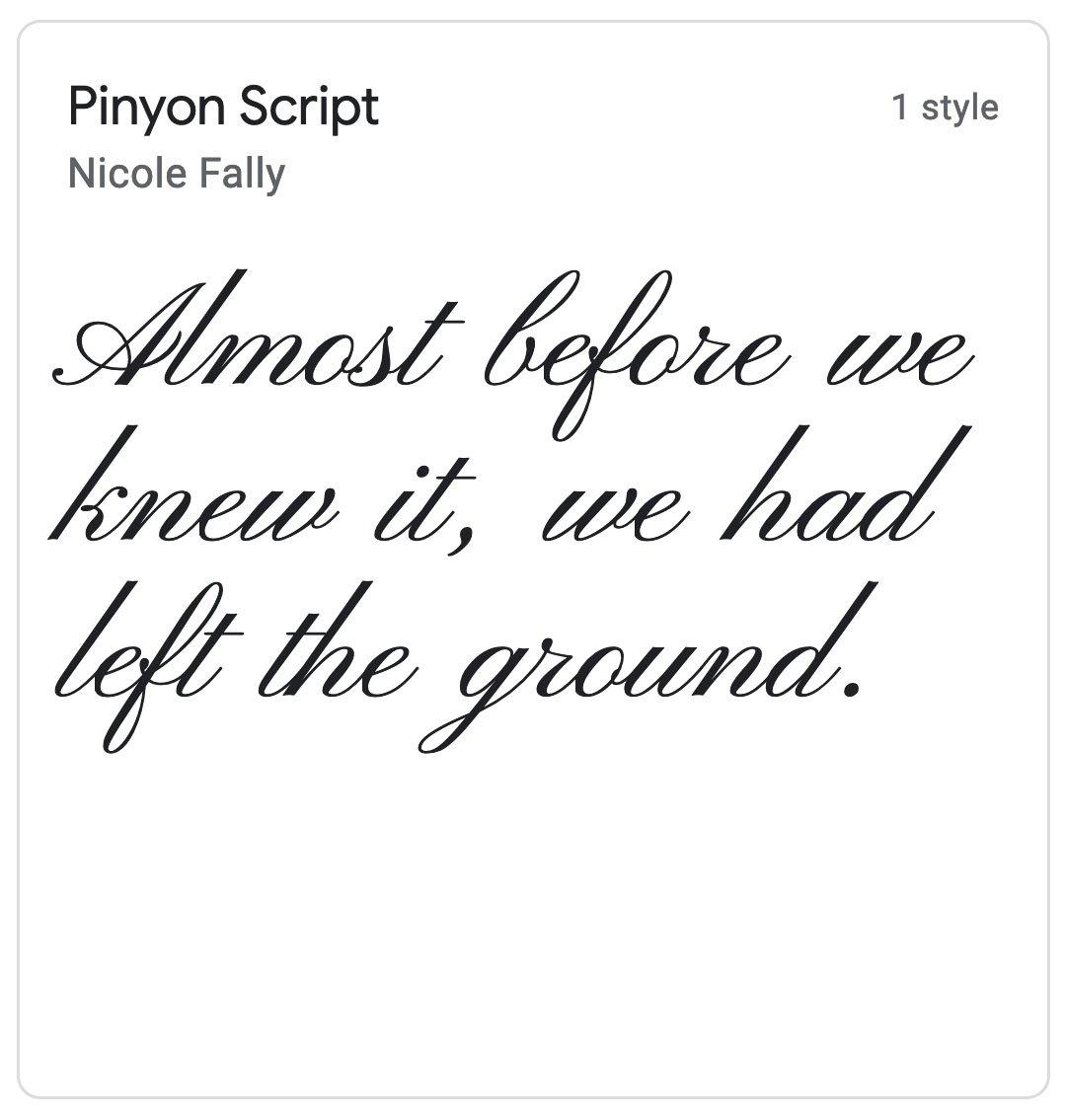 Enfold Fonts Pinyon Script
