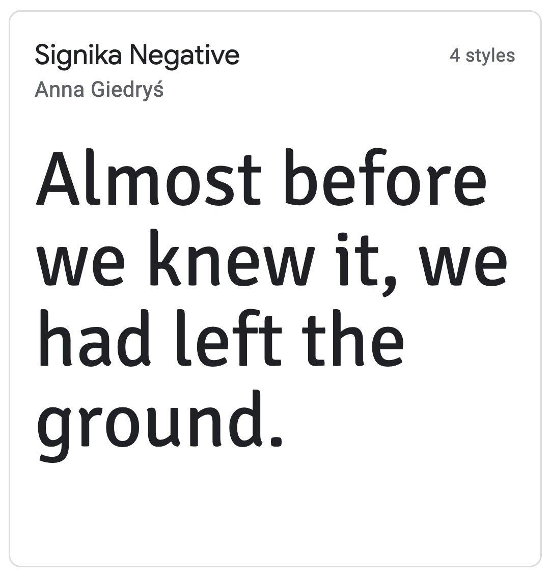Enfold Fonts Signika Negative