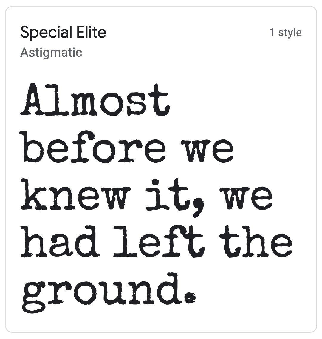 Enfold Fonts Special Elite