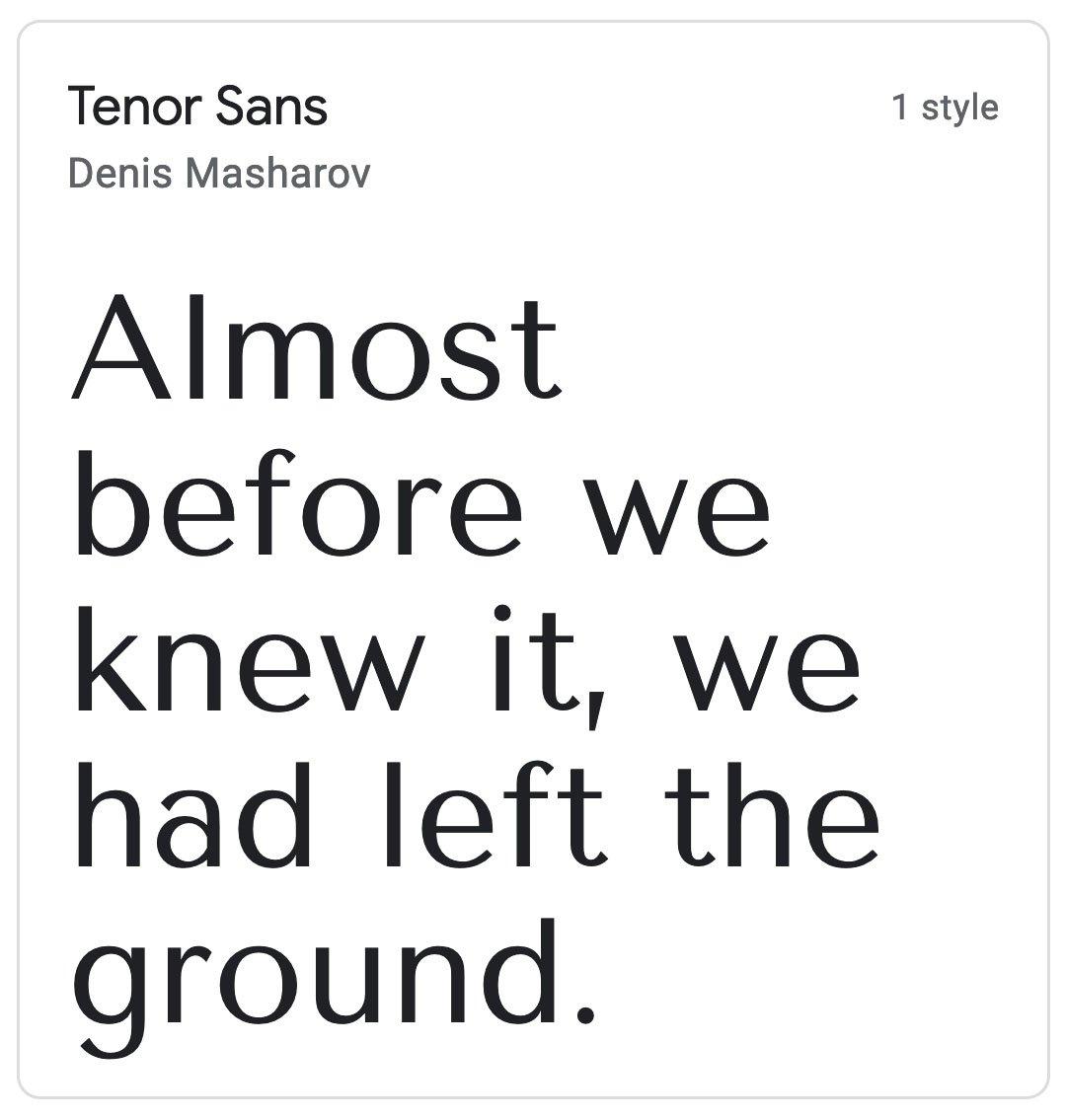 Enfold Fonts Tenor Sans
