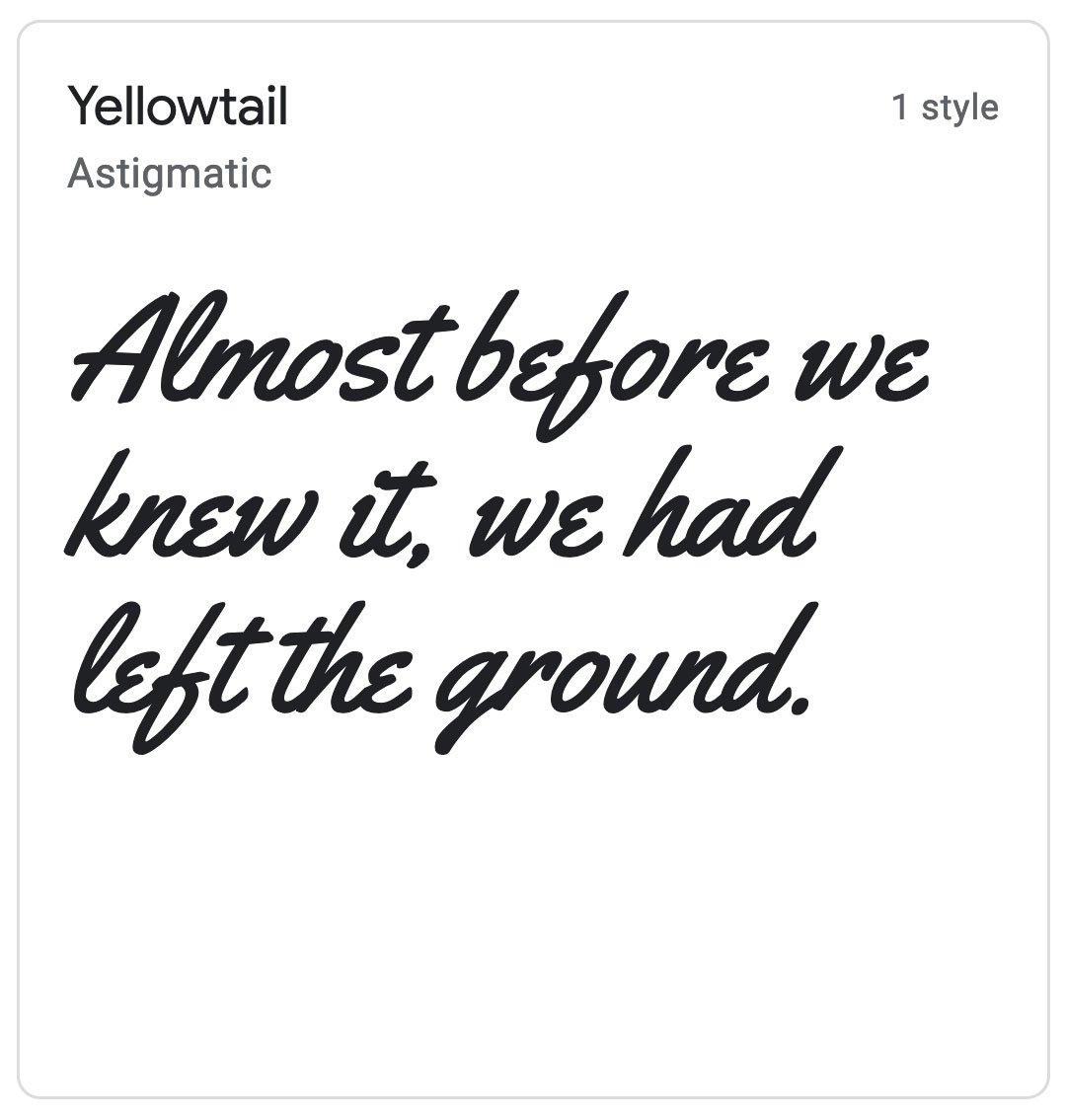 Enfold Fonts Yellowtail